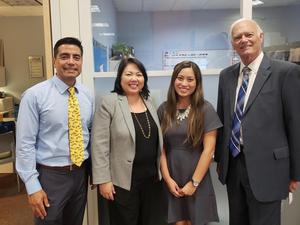 Steve Curiel, Principal, Ashley Nguyen, Counselor, Carolee Ogata, Deputy Superintendent, Duane Dishno, Board Trustee.