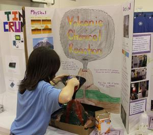 A volcano explodes at the 2019 Gananda Science Fair