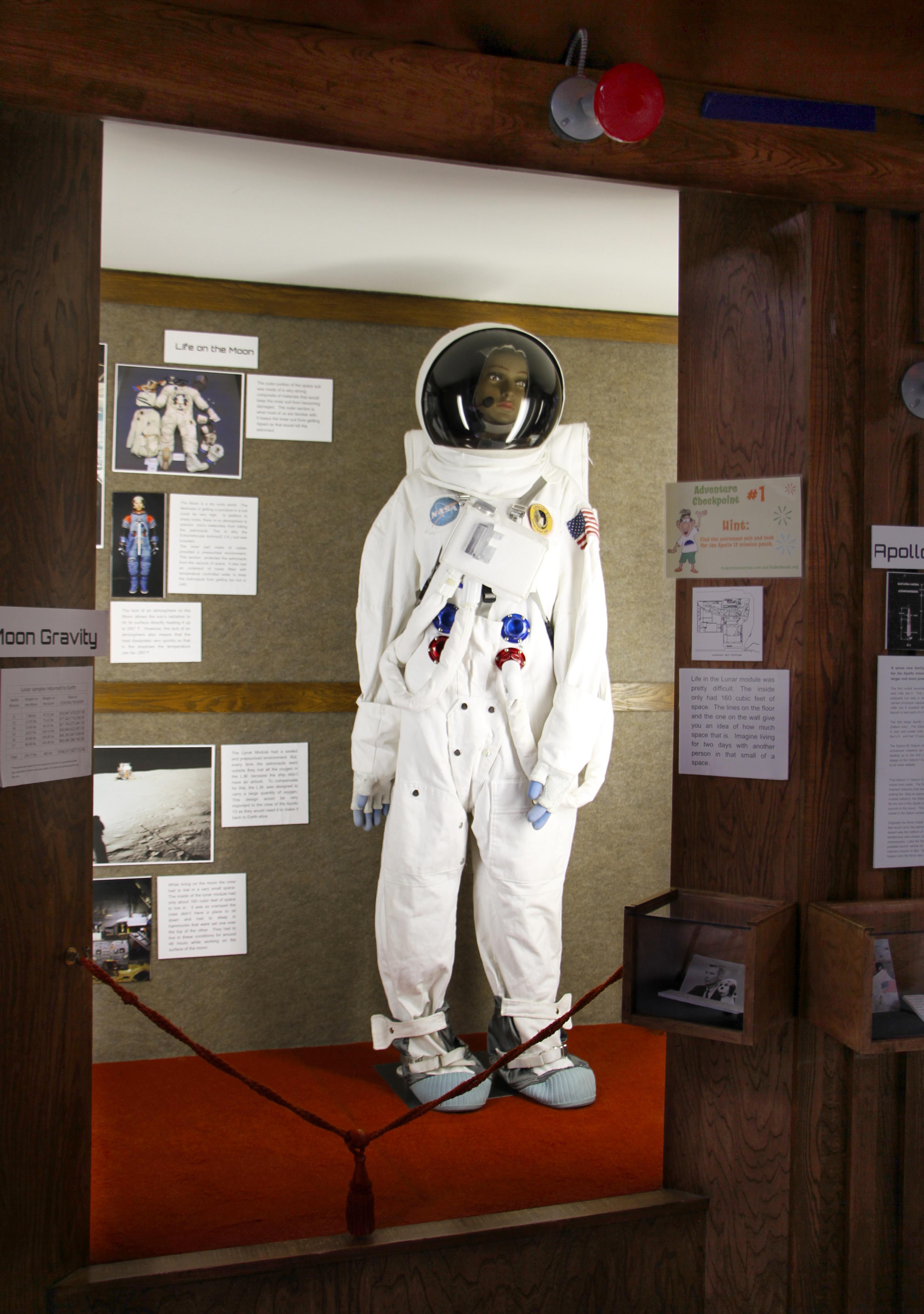 Astronaut space-suit in lobby display of Casper Planetarium