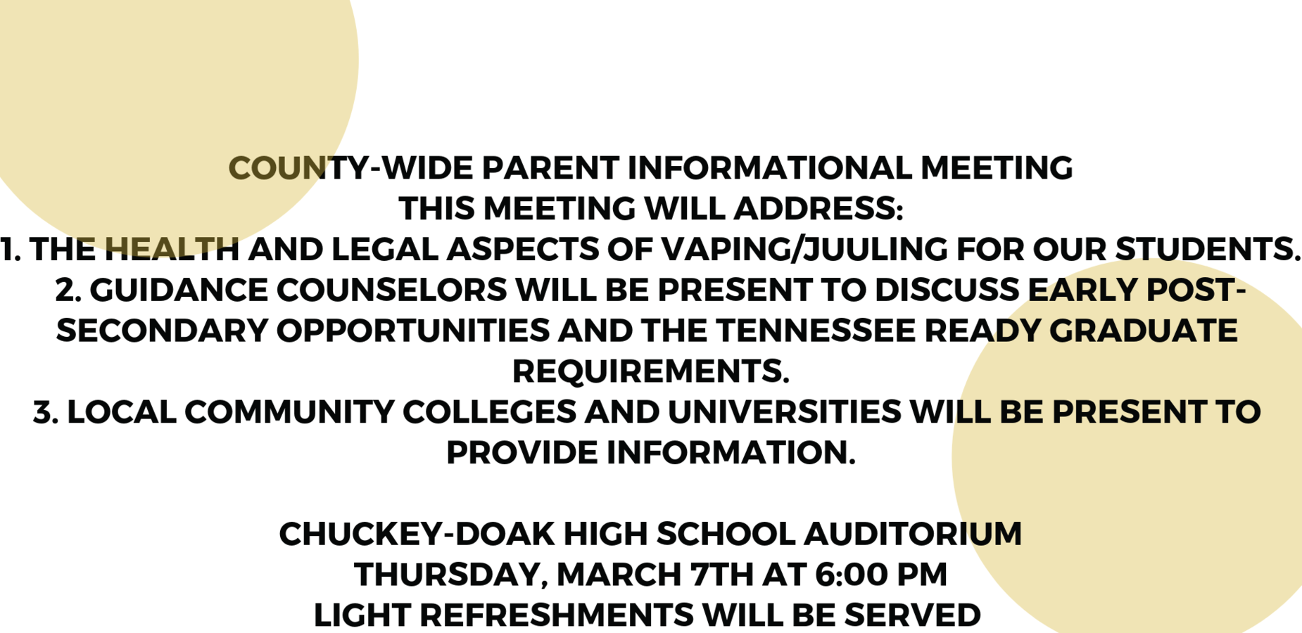 County-Wide Parent Informational Meeting at CDHS on Thursday, March 7th at 6:00 PM