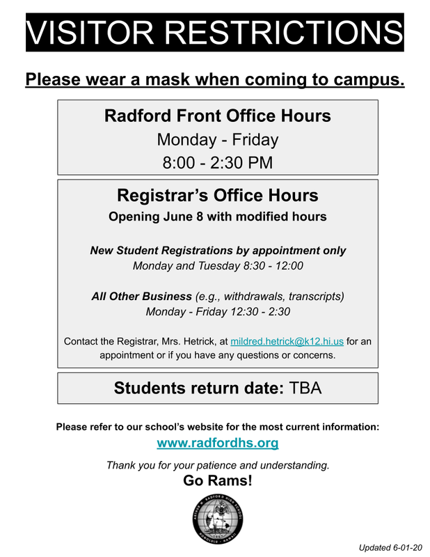 Visitor Restrictions Office Hours