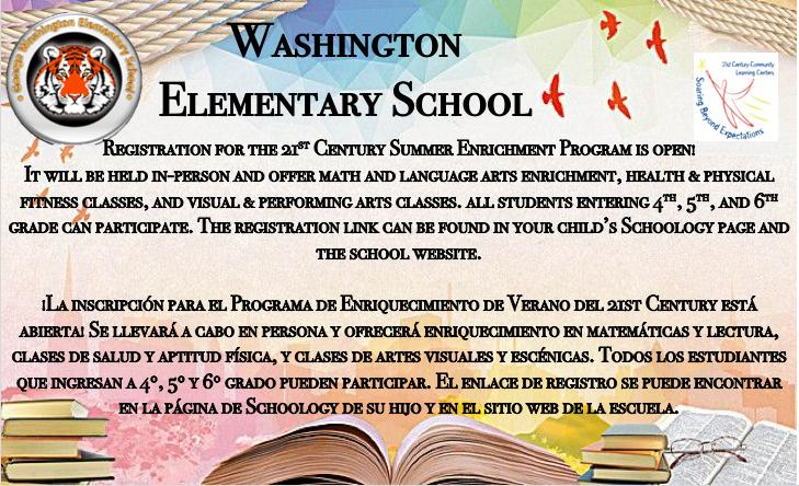 Registration for 21st Century Summer Program description