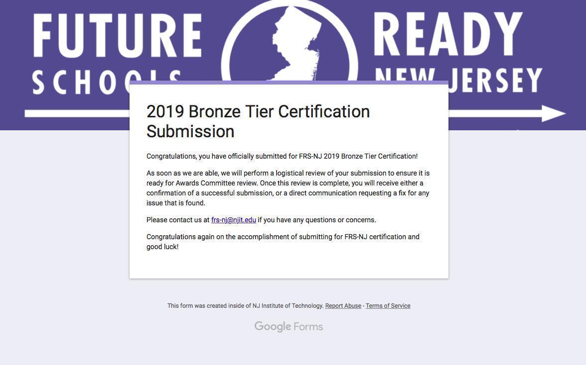 future ready bronze certificate