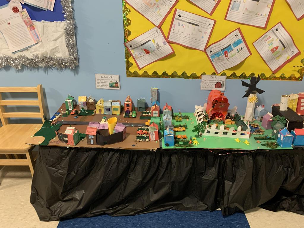 student diorama of a city