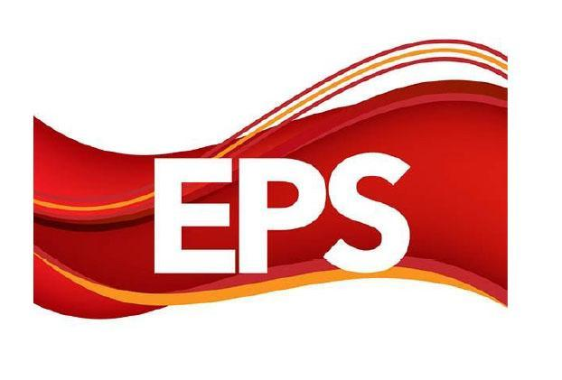 EPS Logo. red and. gold waves