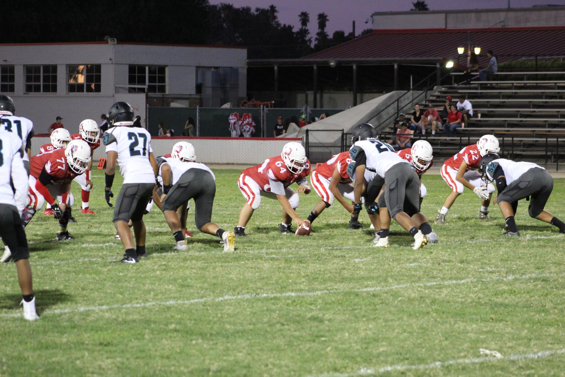 Junior varsity football in action against Mendota
