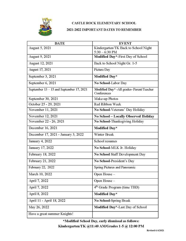 2021 -2022 Important Dates to remember Featured Photo