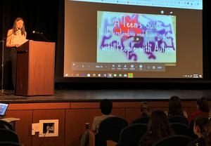 Alexandra Jackman, former Roosevelt student, now a 20-year-old junior at the University of Pennsylvania, spoke to RIS students on Jan. 10 about autism acceptance and awareness.