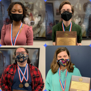 collage of 4 teen students wearing medals they earned at UIL competition