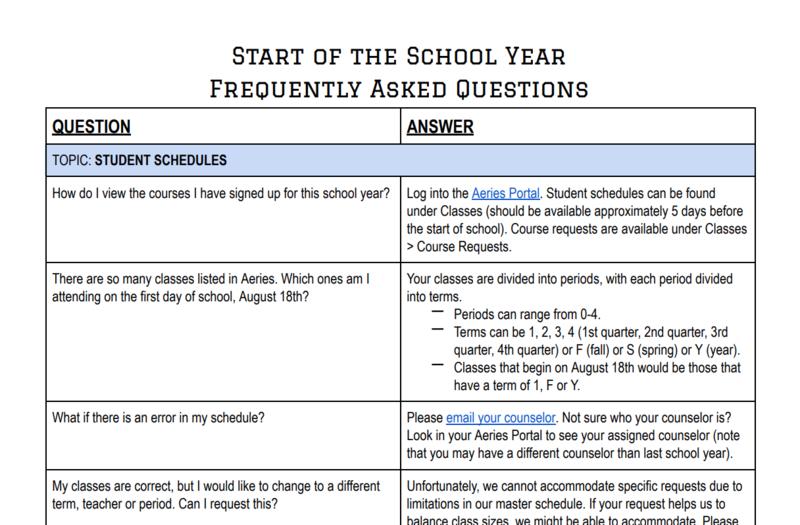 Start of School FAQs / Comienzo del año Escolar Preguntas Frecuentes Featured Photo