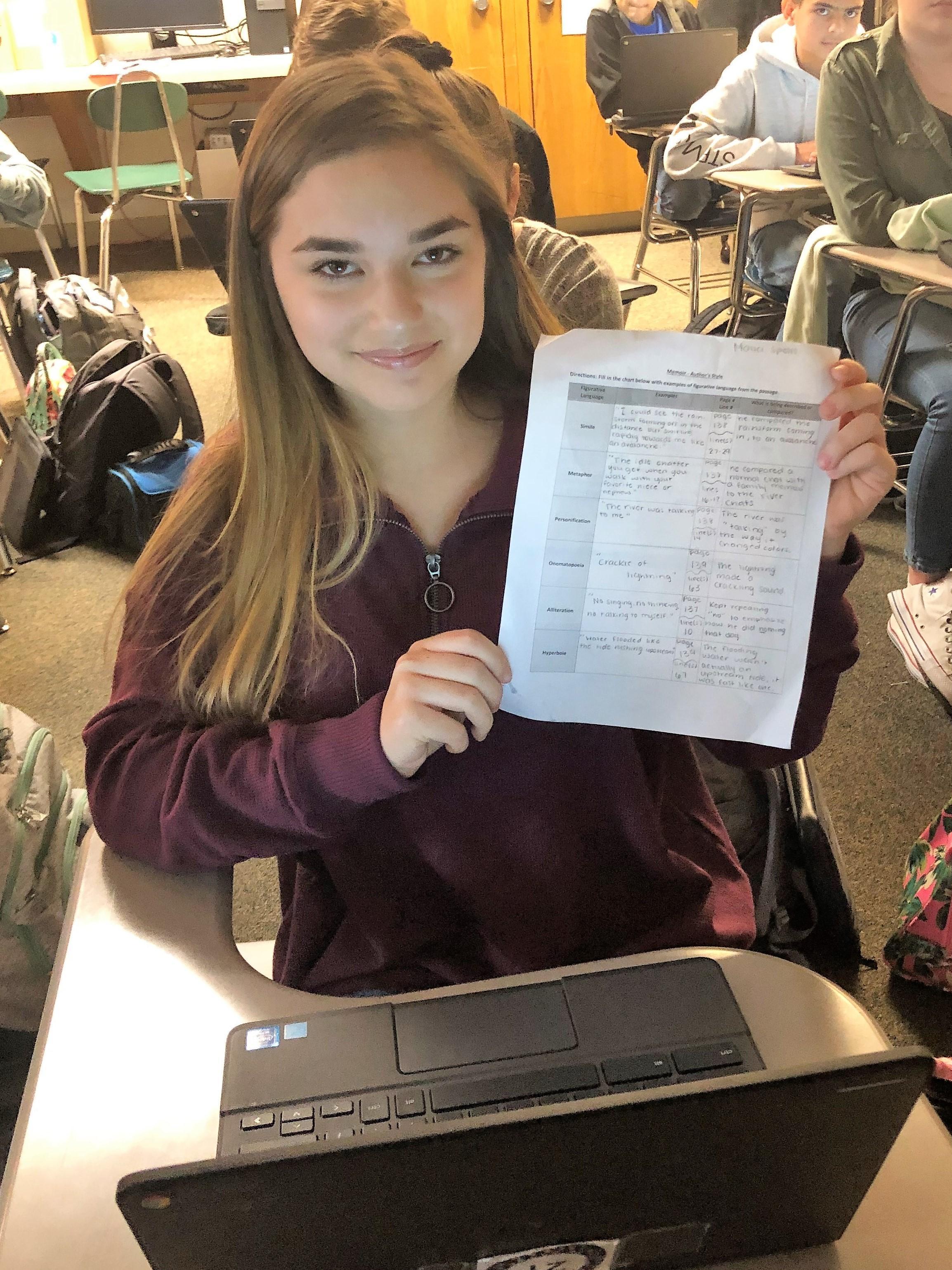 Student showcasing work on graphic organizer