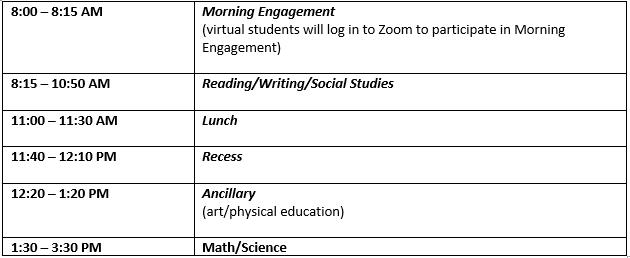 2nd Grade Schedule