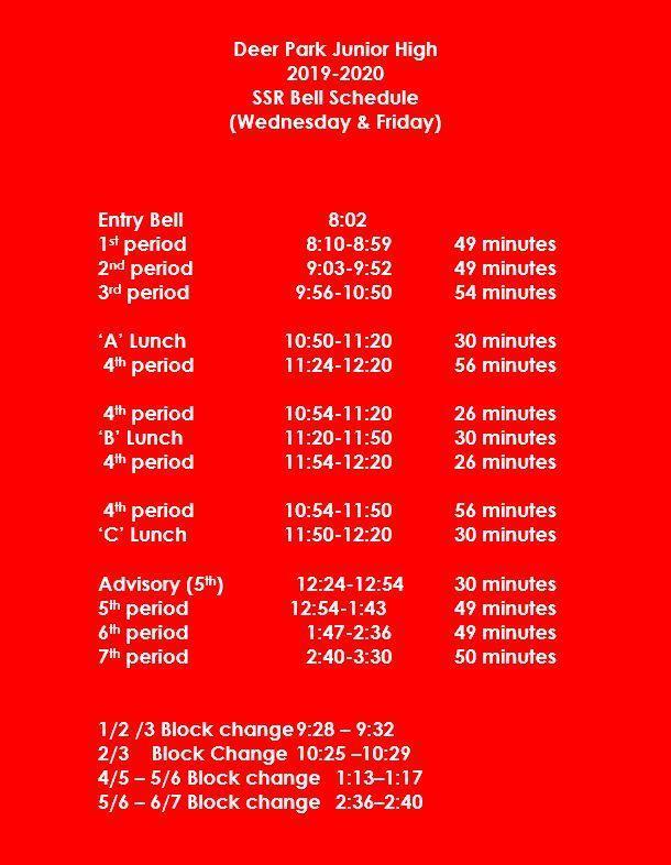 SSR Bell Schedule