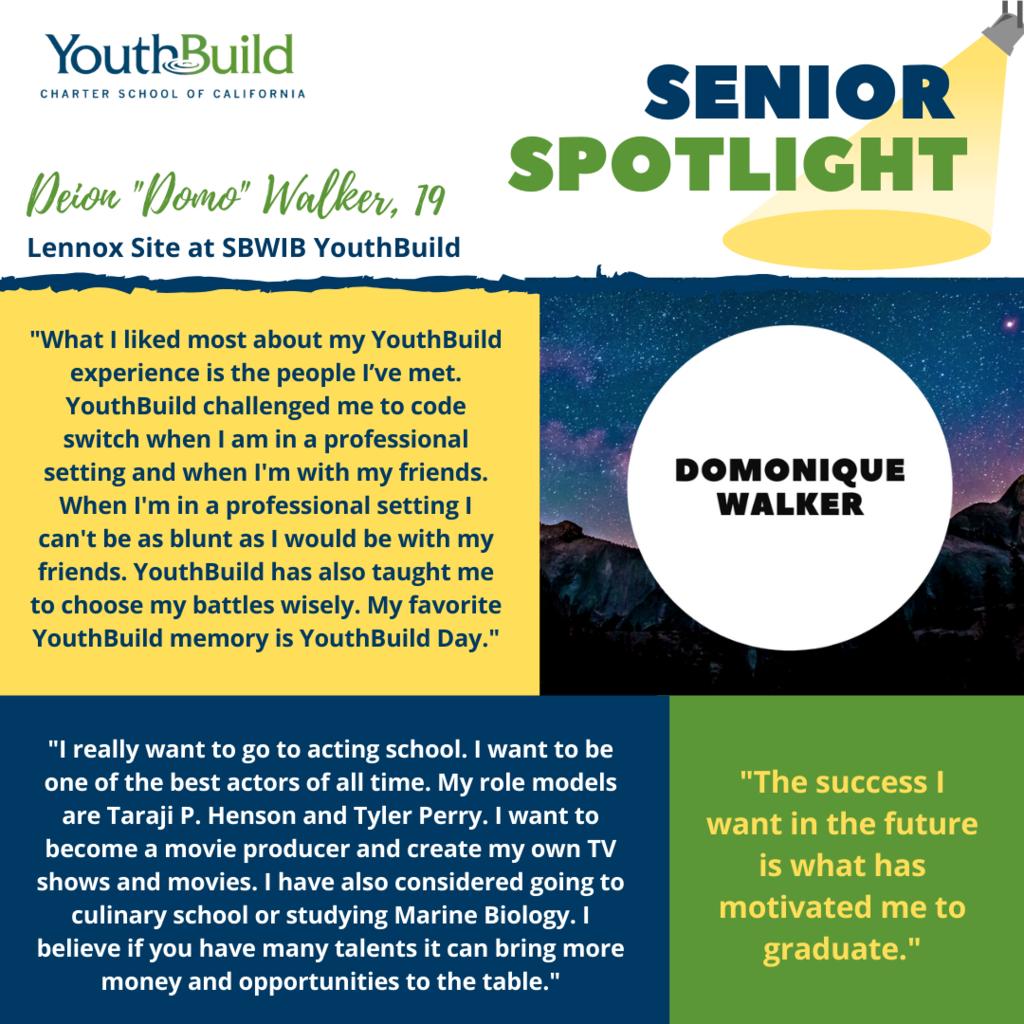 Senior Spotlight for graduate Domo Walker
