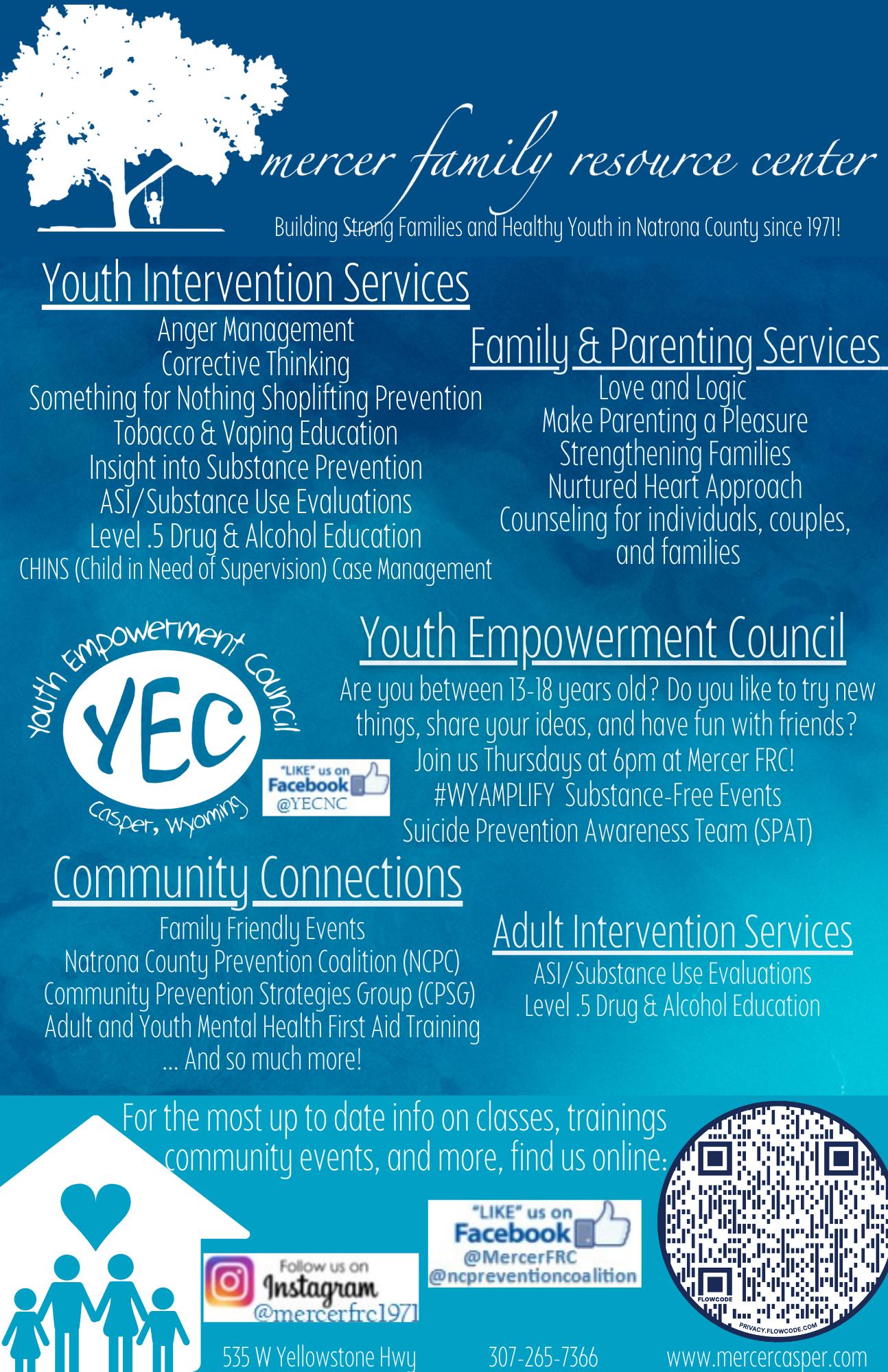 Mercer Family Resource Center Programs Flyer
