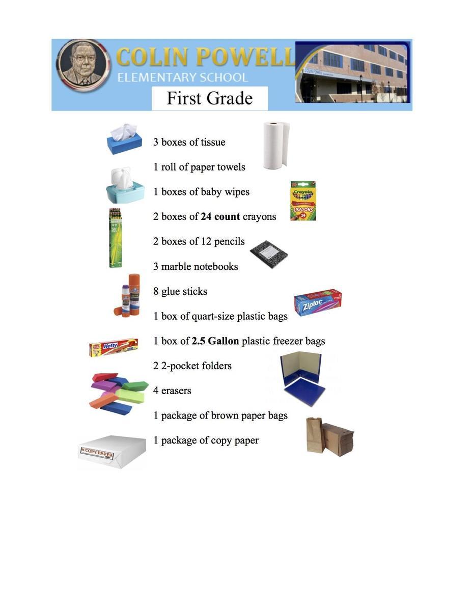 1st Grade supplies list