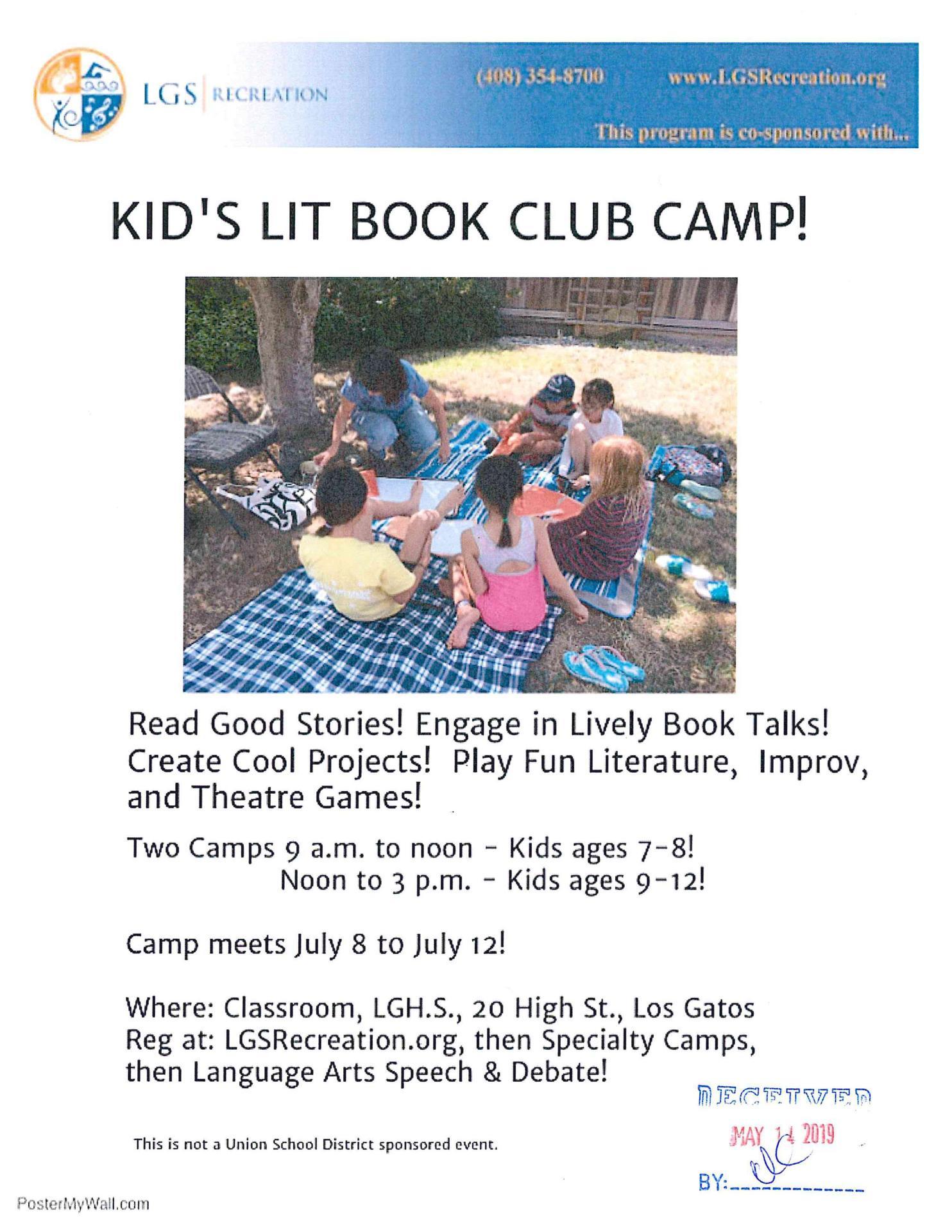 Kids Lit Book Club Camp