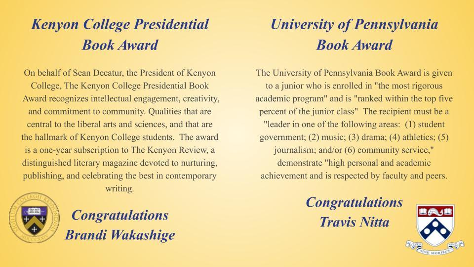 Kenyon & UOP book awards