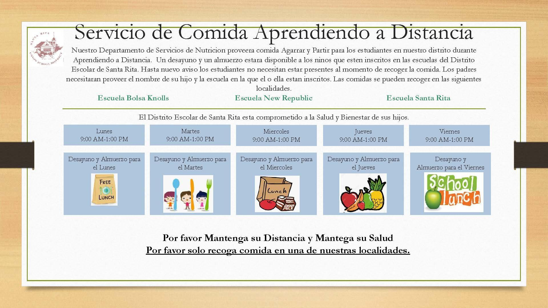 Distance Learning Meal Distribution Schedule - Spanish
