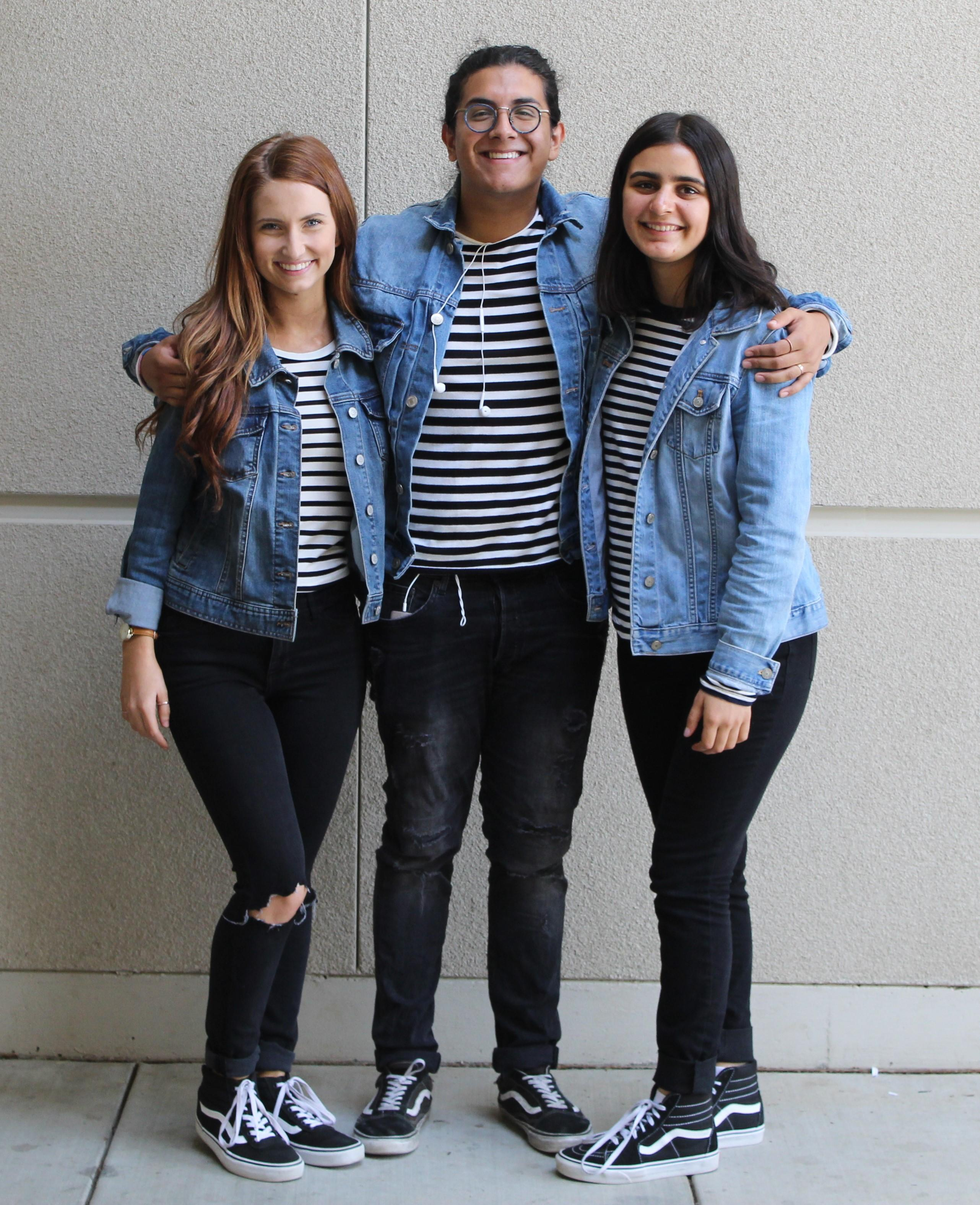 Students wearing matching outfits for Meet My Roommate Monday