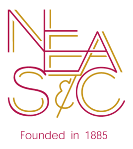 The New England Association of Schools and Colleges logo, which features large maroon letters