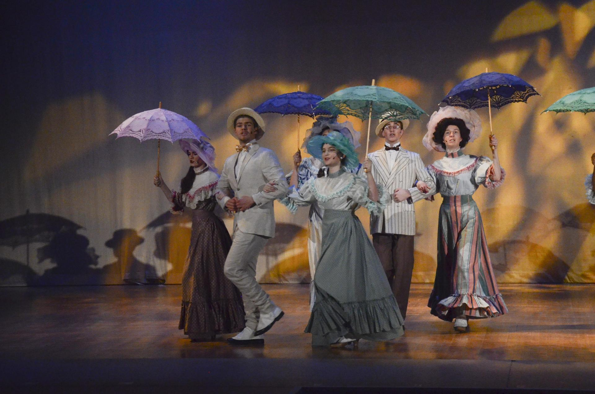 Students performing in 'Hello, Dolly!' the 2019 spring musical at the Warner Grand Theater in San Pedro.