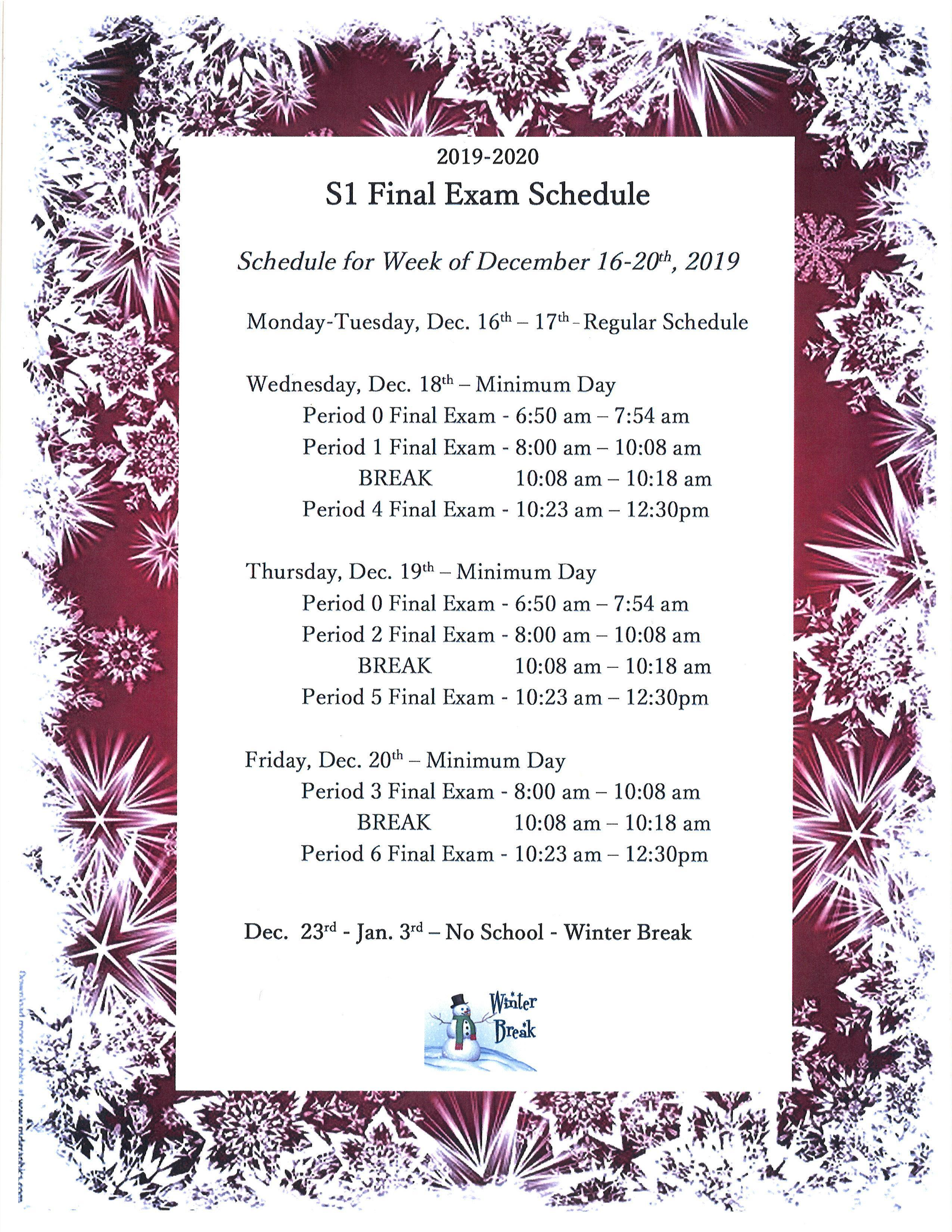 Csula Final Exam Schedule Fall 2020.San Marino High School