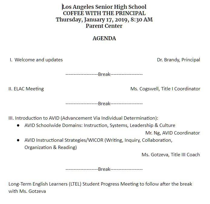 Coffee with the Principal/ELAC on Thursday, January 17 Featured Photo