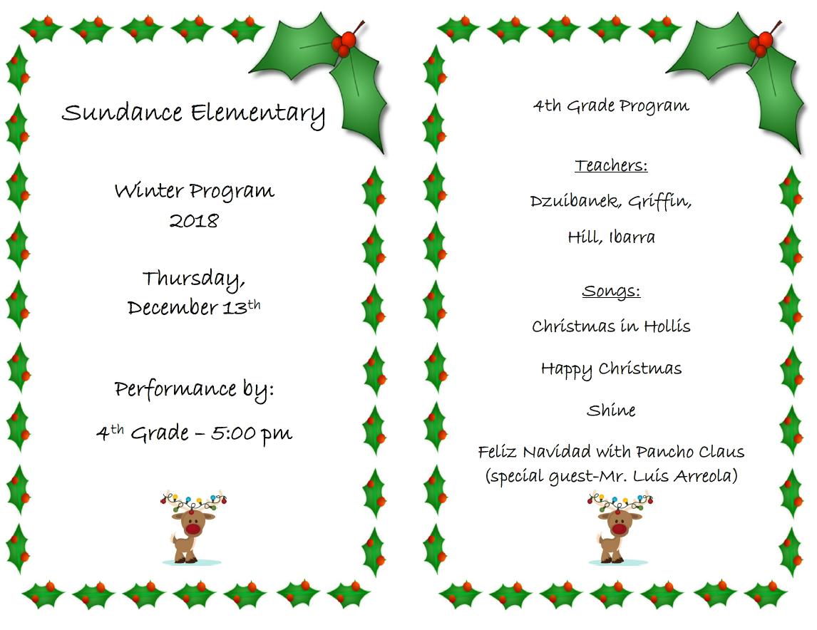 4th Grade Winter Program