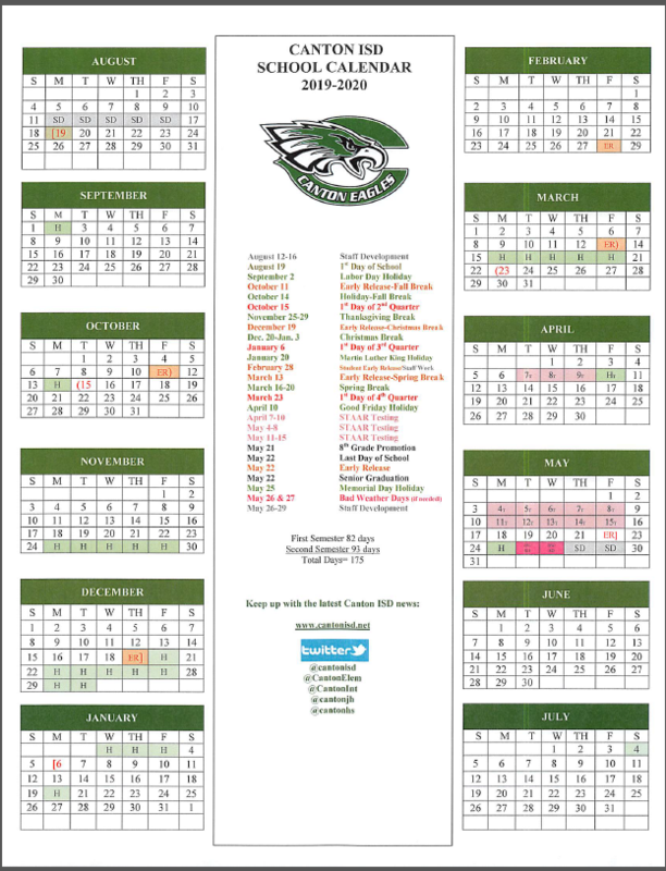2019-20 CANTON ISD SCHOOL CALENDAR Featured Photo