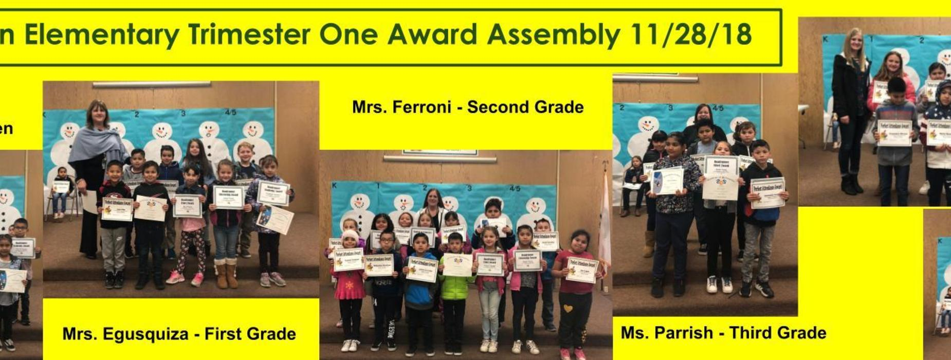 11/28/18 trimester one award assembly