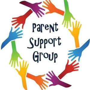 multi-colorful hands encircling Parent Support Group text