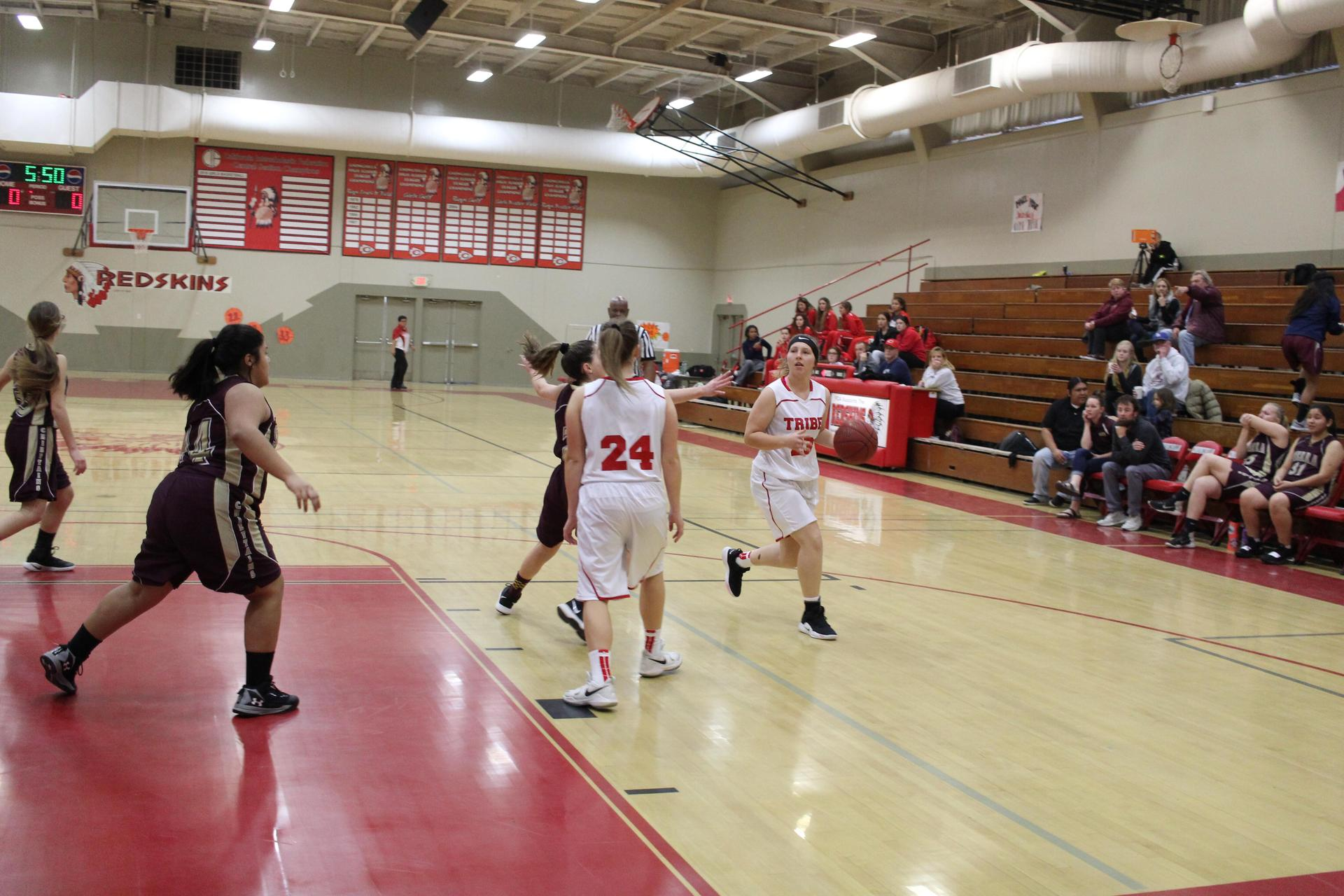 JV girls playing basketball against Sierra