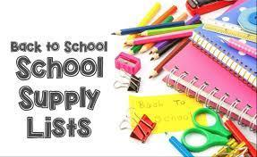 Picture is a clip art of a back to school supply list
