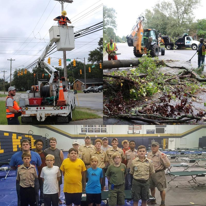 pic of boy scout troops and city workers after hurricane