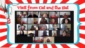 Visit from the cat in the hat on zoom