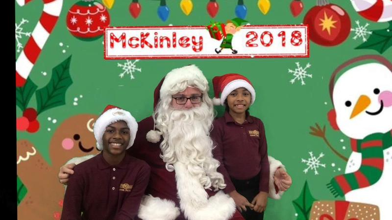 students with mckinley santa 2018