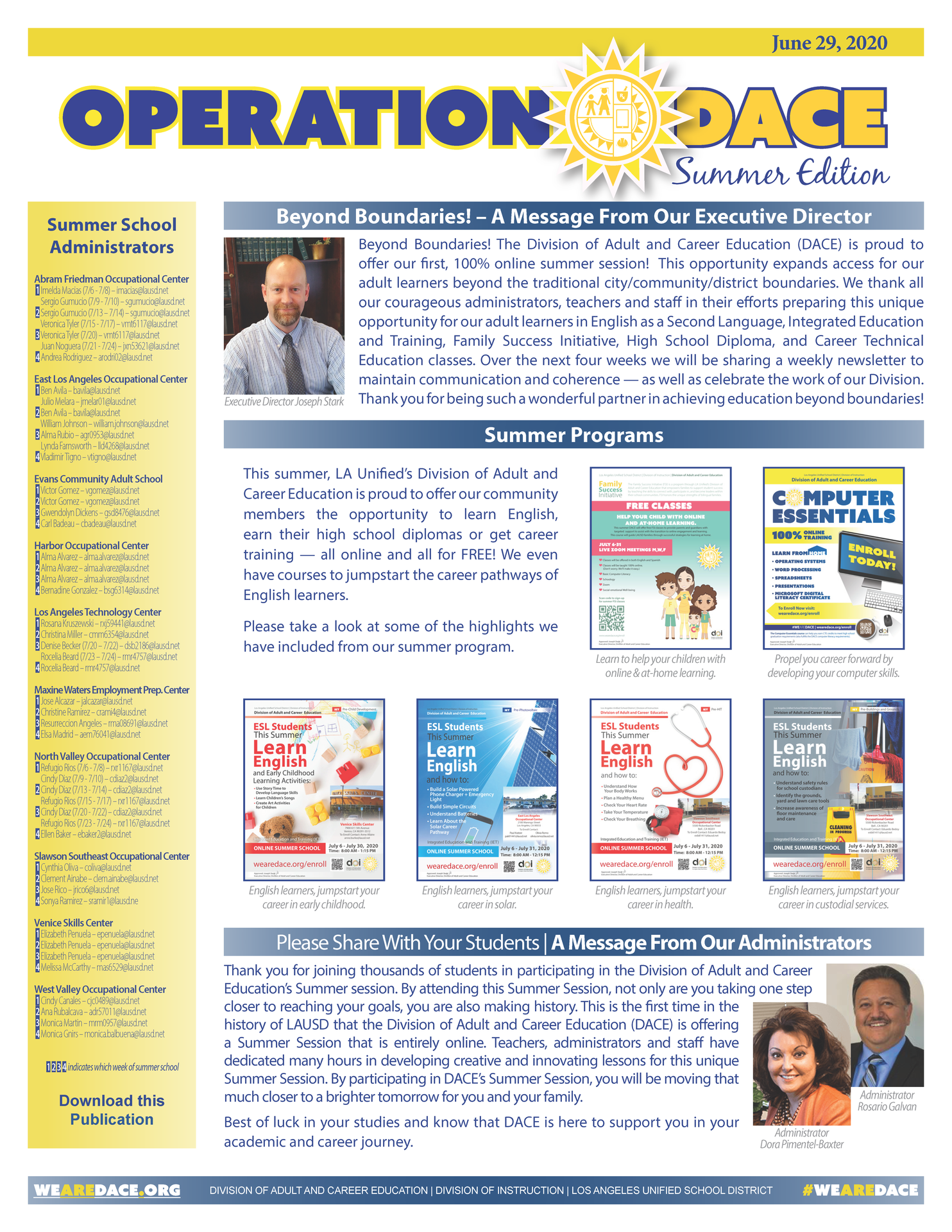 DACE Summer Newsletter - June 29, 2020 Thumbnail