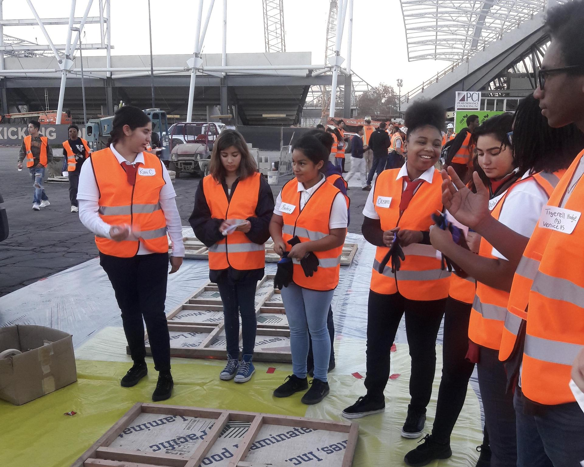 students on an ACE field trip on a construction site
