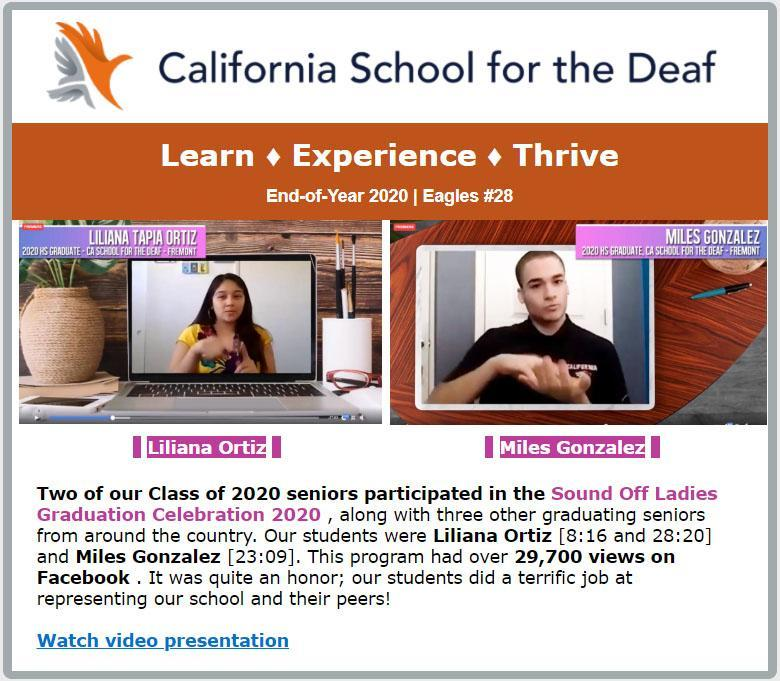 California School for the Deaf - Learn, Experience, Thrive (front of newsletter)
