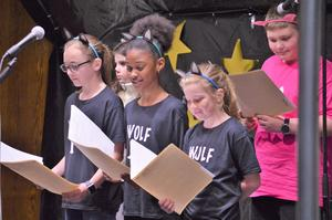 5th grade actors in Reader's Theater play.