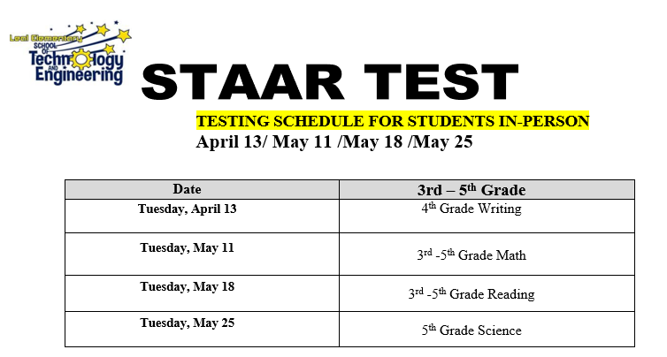 STAAR testing begins this week, April 13, for In-Person students. Featured Photo