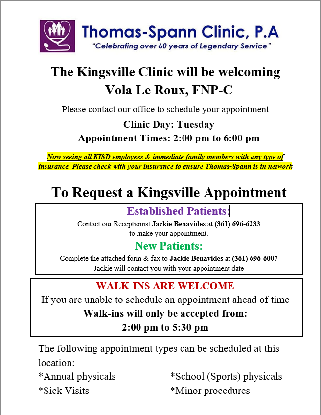 Kisd Health Clinic District Health Clinic Kingsville Independent