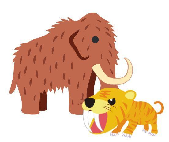 wooly mammoth and saber tooth tiger