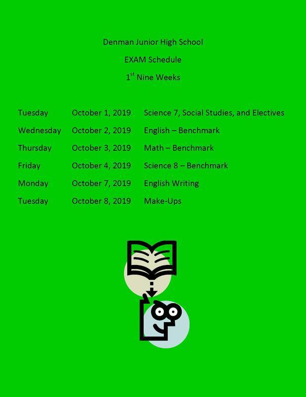 Denman's 1st 9 weeks test schedule