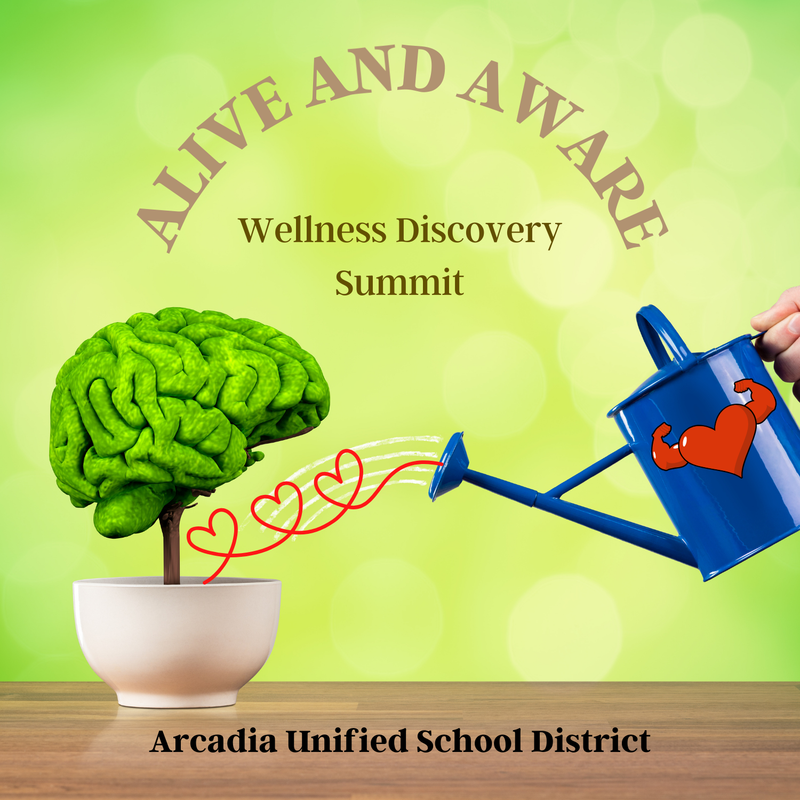 AUSD wellness summit logo with watering can and tree