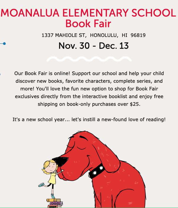 Moanalua Book Fair November 30 - December 13