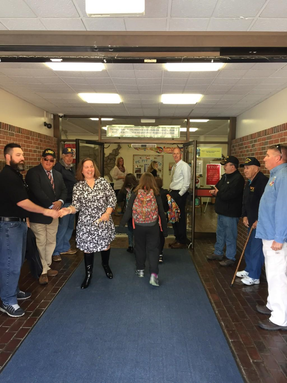 Veterans welcoming Mrs. Duquette