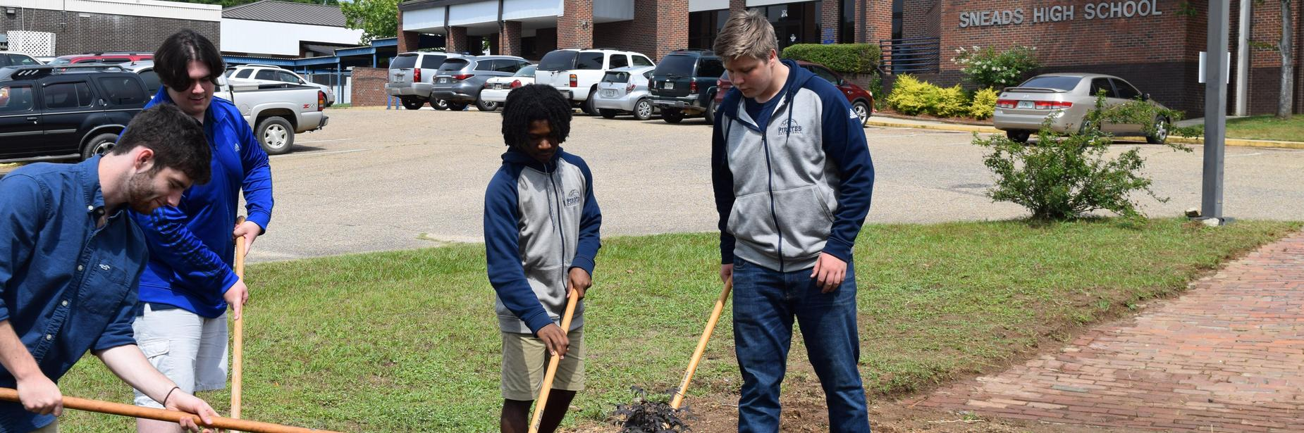 shs students cleaning up around campus