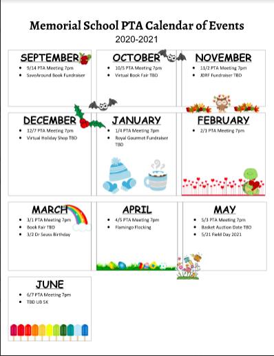 20-21 Memorial School PTA Calendar of Events